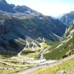 Stelvio pass looking west from the top